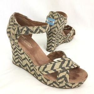 SOLD Toms Ankle Strap Wedge Sandals 8.5